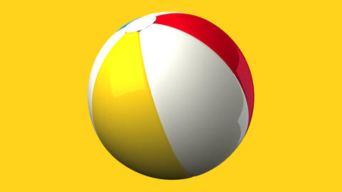 Beach ball on yellow background Animation