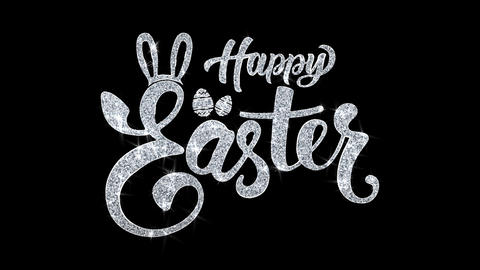Happy Easter Blinking Text Wishes Particles Greetings, Invitation, Celebration Footage