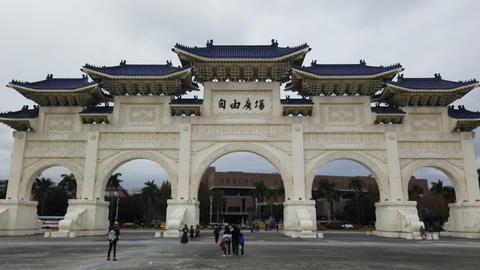 Tourists at chiang kai-shek memorial hall in Taipei, Taiwan GIF