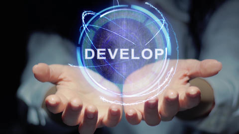 Hands show round hologram Develop Live Action