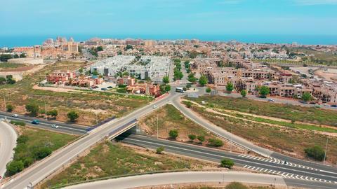 Aerial view. highway interchange, Spain Live影片