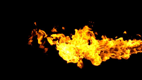 Fire flamethrower on black background Footage