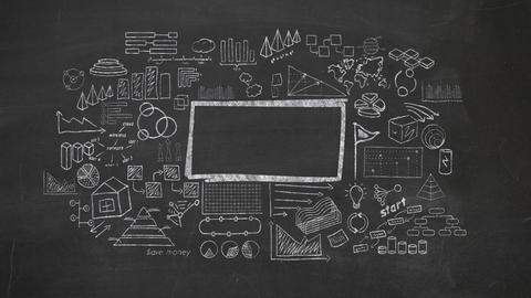Frame surrounded by infographics drawn in chalk on a blackboard Animation
