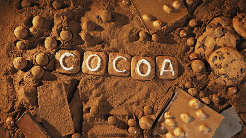 Stop motion cocoa message on the cocoa background Live Action