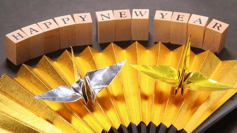 お正月イメージ 金扇と折り鶴 ビデオ