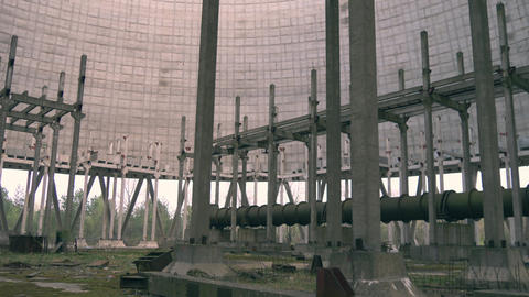 Cooling tower of Chernobyl Nuclear Power Station Live Action