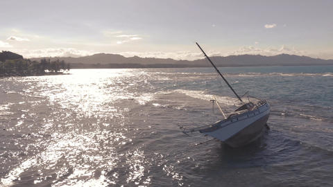 Drone flight round ship wreck at the Caribbean Sea side of Costa Rica 2K Footage
