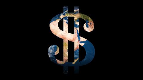 Icon sign Dollar revealing turning Earth globe Archivo