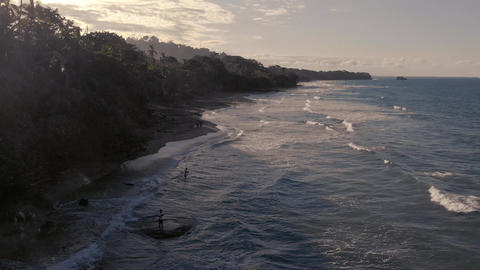 Aerial view of lonely beach with rain forest in Costa Rica Live Action