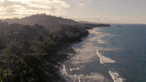 Aerial view of beautiful beach in Costa Rica with Rain forest Footage