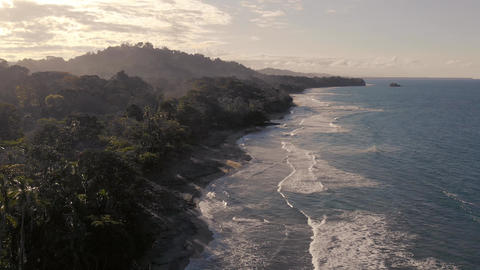 Aerial view of beautiful beach in Costa Rica with Rain... Stock Video Footage