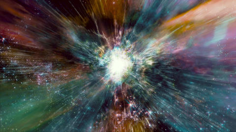Space 2120: Flying through star fields and galaxies in deep space as a supernova bursts light Animation