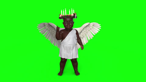 Cherub Smiles and Flaps its Wings, green screen Footage