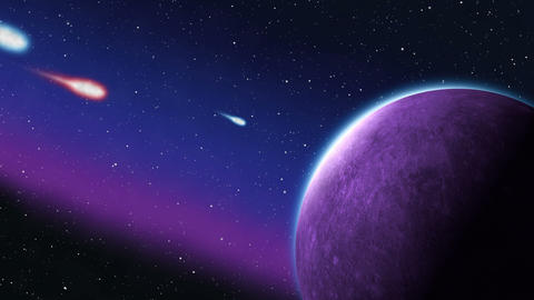 Blue and Red Asteroids Meteors impact in Purple Planet Animation