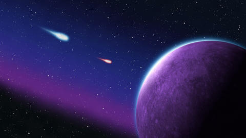 Blue and Red Purple Planet Asteroids Meteors impact in… Stock Video Footage