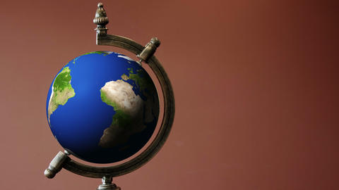 Old Terrestrial Globe Animation Rotating in 360 degrees Animation