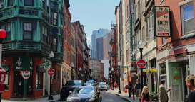 Establishing Shot of Businesses in Historical Downtown Boston Footage