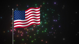 Fireworks and American Flag Footage