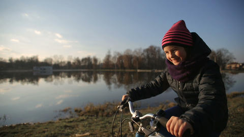 Young Girl Riding the Bike 2 Footage