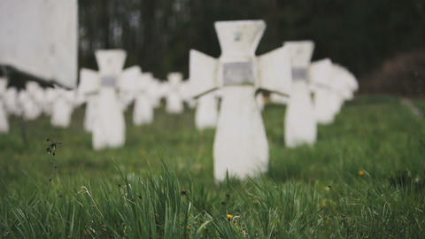 Cemetery of white military crosses 3 Footage