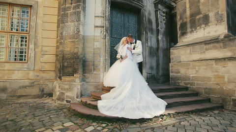 Wedding Bride Groom Walk before Castle Footage