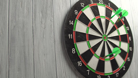 Playing Darts on White Wood Wall Footage