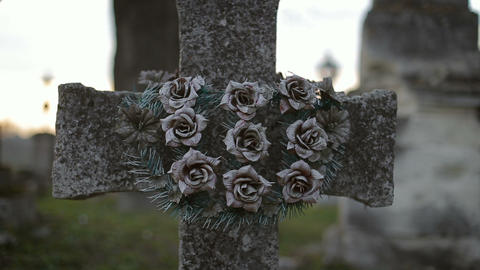 Ancient Crosses with Old Wreath Footage