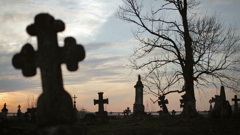 Old Graveyard with Ancient Crosses 6 Footage