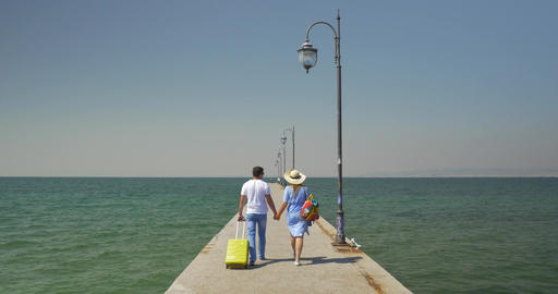 Couple win rolling bag walking on the pier Footage