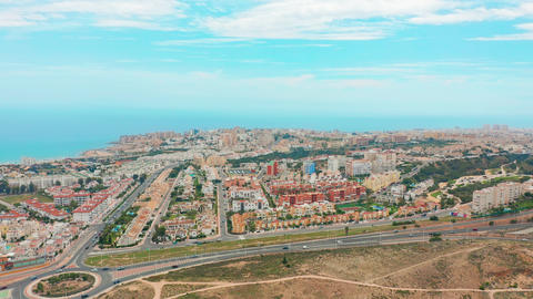 Aerial view. Torrevieja from the air, the coastline ana roofs Footage