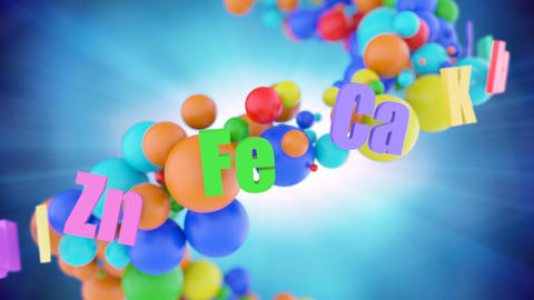 Concept of healthy organism with colorful vitamins Animation
