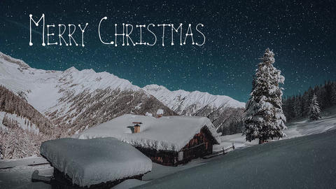 Christmas message in the snowy sky and shooting star Animation