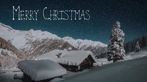 [alt video] Christmas message in the snowy sky and shooting star