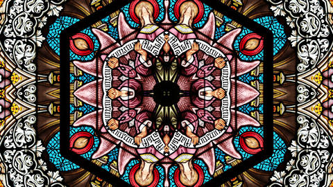 Church Stained Glass Mosaic Window with Mandala Kaleidoscope Effect Animation