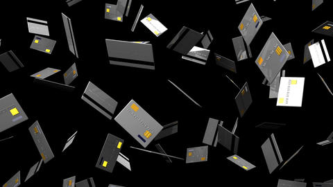 Gray Credit cards on black background Stock Video Footage