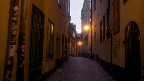 Alleyways of Oldtown Stockholm at Dusk Footage