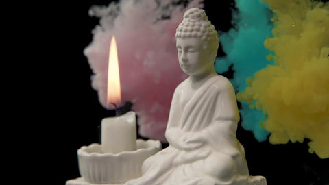 Gautama Buddha Candle and Ink Footage