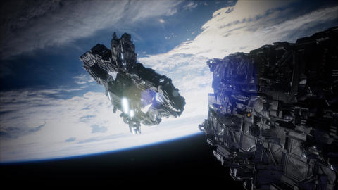 Fleet of Massive Spaceships Known as Motherships Taking Position over Earth Footage