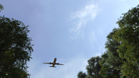 Commercial airplane arriving to Guiyang, China. 3D animation Live Action