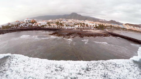 Aerial view of a beautiful island in the ocean. Tenerife, Spain, Canary Islands Footage