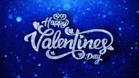 Valentine Day Blue Text Wishes Particles Greetings, Invitation, Celebration Footage
