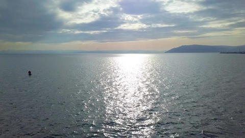 Beautiful Lake View. Drone view. Lake Baikal Footage