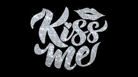 Kiss Me Blinking Text Wishes Particles Greetings, Invitation, Celebration Footage