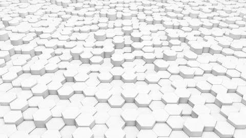 3d rendering Hexagon white grid pattern technology background loop Animation