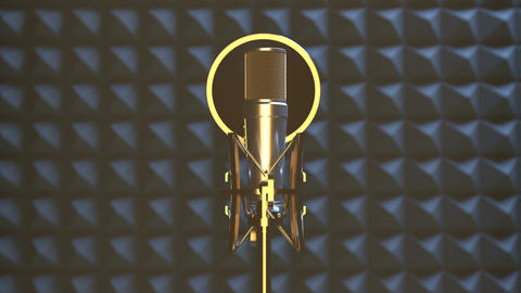 Professional microphone in sound recording studio Animation