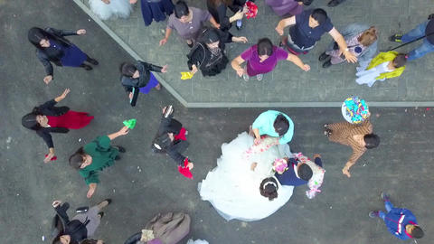 Wedding. Newlywed with guests. Top View. Drone view Footage