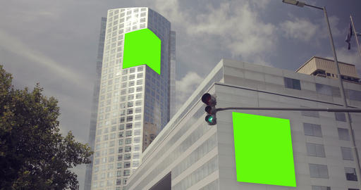 Billboard Ad with Green Screen in building in the city... Stock Video Footage