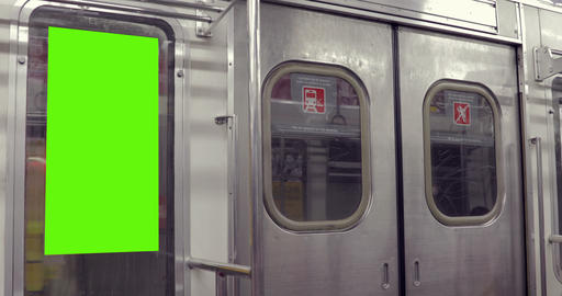 Billboard Ad with Green Screen in subway– Croma Key Stock Video Footage