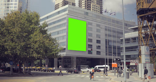 Billboard Ad with Green Screen in building in the city streets – Croma Key Footage