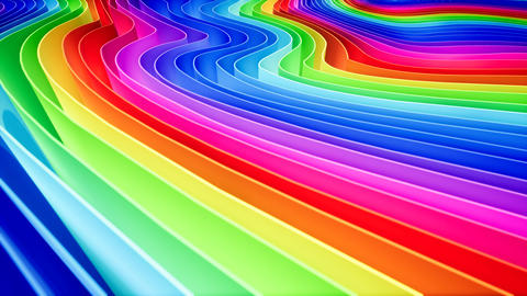 3D animation of rows and rows of colorful stripes in a rainbow in a circular Live Action